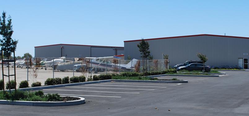 Hayward Hangars - View of Airplane Hangars and Parking